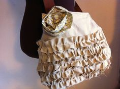 Natural Linen Ruffle Bag, Crossbody, Purse, Yellow and white. $50.00, via Etsy.