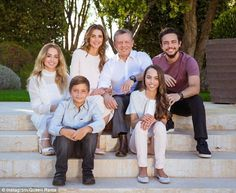 The whole family together: Front - Prince Hashem and Princess Salma. Back (left to right) - Princess Salma, Queen Rania, King Abdullah, Crown Prince Hussein