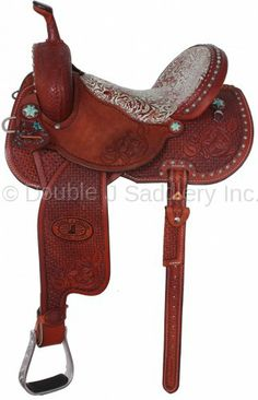 Pozzi Pro Barrel Racer with turquoise eagle floral leather print seat by Double J Saddlery