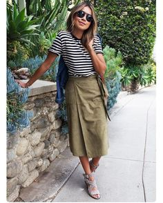 Stripes + khaki is a great combination. ✔️Make sure to be an early adopter of the khaki-trend which is going to be big this fall.✔️ #SakerStil #StyleGuide #khaki #trend #aw16 Be inspired by @sincerelyjules