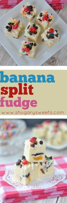 Sweet Banana Split Fudge recipe. The perfect summer treat!