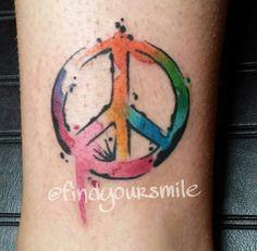 Tatuagem Paz e Amor, aquarela