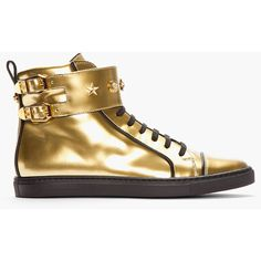 VERSACE Gold Patent Leather Buckled High-Top Sneakers ($412) ❤ liked on Polyvore featuring shoes, sneakers, sapatos, versace, versace high tops, gold strappy shoes, gold hi top sneakers, gold high tops and versace sneakers