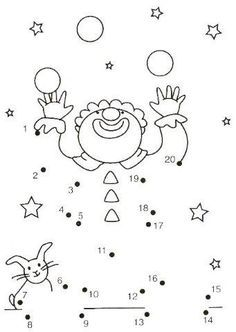 20 prikker, klovn by cassie Preschool Circus, Circus Crafts, Primary School, Pre School, Connect The Dots, Circus Theme, Math For Kids, Kindergarten Math, Colouring Pages