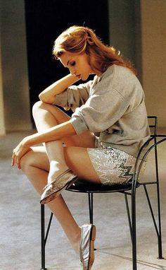 """80s-90s-supermodels:  """"Sweat Show"""", Elle France, February 1992Photographer: Pamela HansonModel: Nadja Auermann"""