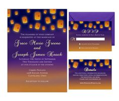 Invite your family, friends and loved ones to join you and your fiancé to celebrate your best day ever with these invitations inspired by the Disney Princess, Rapunzel from Disney's Tangled. These invitations feature beautifully designed glowing lanterns floating through the multicolored sky as the sun sets in the background.  They are designed for the bride who wants to save money but not skimp on quality. They are easily editable in Adobe Reader. The fonts and colors of the fonts may be…