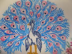 """""""Peacock"""" Embroidered  pillowcase new floral vintage pillow crocheted new"""
