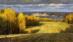 "Saatchi Art Artist Dmitriy Permiakov; Painting, ""Autumn on the Kama river"" #art"