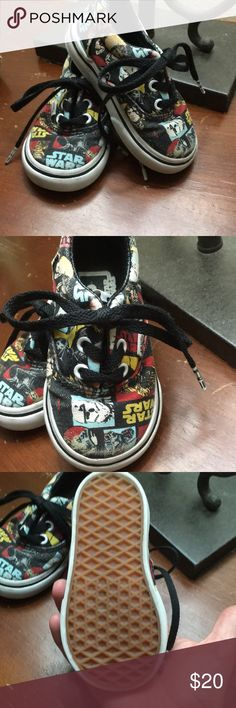 Toddler 4 Star Wars Vans Like New Rare! Bought for #4, he hated shoes. Saved for #5, his pillow puff feet were too fat for any shoe made- seriously!!!! These are basically Brand new Vans. The classic Star Wars print is impossible to find. Vans Shoes Baby & Walker
