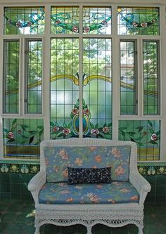 Stained glass sunroom.  Windows adapted, resized, restored, and installed by Phoenix Studio.