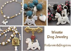 Handmade Westie dog jewelry gifts at ForLoveofadog.com on sale with free shipping.