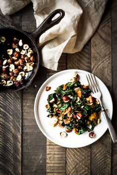 Rainbow Chard with Hazelnuts & Mushrooms - Dishing up the Dirt Chanterelle Mushroom Recipes, Mushroom Dish, Mushroom Salad, Mushrooms Recipes, Creamy Pumpkin Soup, Rainbow Chard, Stuffed Mushrooms, Stuffed Peppers, Cooking Recipes