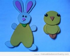 Conejo y pollito de goma eva, manualidades para niños