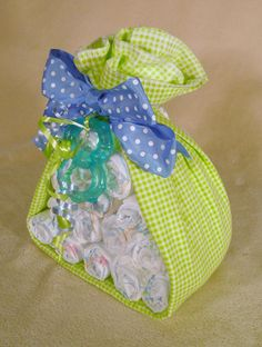 Stork Bundle Baby Diaper Gift   by ThePearlOnTop on Etsy, $15.00