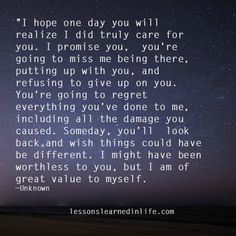 Lessons Learned in Life | You're going to miss me.