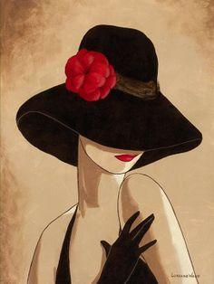 French Lady Black Hat & Dress #2