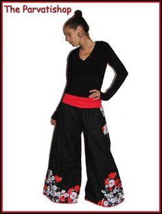 Pantalon pattes d'eph samouraï japon fleurs japan geisha the parvatishop