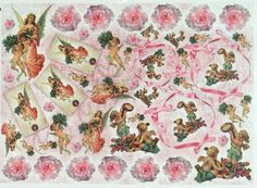 Rice Paper for Decoupage Decopatch Scrapbook Craft Sheet Vintage Pink Angels
