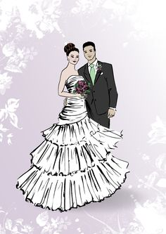 Handdrawn Wedding Illustration by Janin F.  #wedding #wedding couple #wedding illustration #wedding drawing #couple illustration #wedding couple illustration #lavender #wedding trends #lavender trends #wedding design #couple Paar Illustration, Wedding Illustration, Couple Illustration, Romantic Couples, Wedding Couples, Wedding Trends, Couple Goals, Disney Characters, Fictional Characters