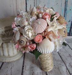 Wedding Bouquet Pink Shell Blush Beach Sea Nautical