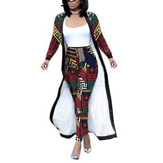 Women 2 Piece Outfits Clubwear Long Sleeve Open Front Cardigan and Pants SetSize: Inch — Red and Grey–include Belt and PocketsS / / / / Short African Dresses, Latest African Fashion Dresses, African Print Dresses, African Print Fashion, Africa Fashion, African Attire, Look, Fashion Outfits, Long Sleeve