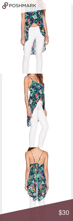 Lucca Couture Floral Tropic Hi-Low Tank -CONDITION: EUC!  -Print: Black Tropic   -Poly Blend  -Questions and offers always welcome  -Pet friendly home but smoke free  -No Trades Lucca Couture Tops