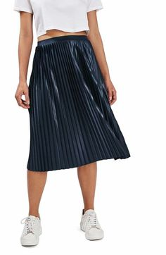 Topshop Pleat Jersey Midi Skirt available at #Nordstrom