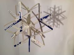 Dodecahedral star from sliced milk cartons.