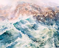 Wave upon wave, transparent watercolour by Wayne Roberts