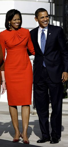 Michelle Obama (in Maria Pinto dress) and U.S. President elect Barack Obama (November 10, 2008 meeting with President George W. Bush and Laura Bush at the White House in Washington DC)