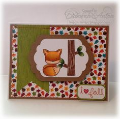 Beadn&Stampn - Using Lawn Fawn  Into the Woods clear set and Doodlebug & Co. Happy Harvests paper