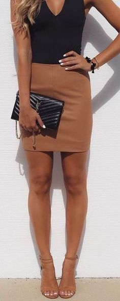 Black Bodysuit   Camel Leather Skirt                                                                             Source