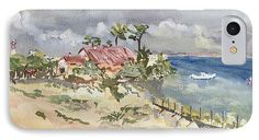 Plage IPhone 7 Case featuring the painting Phare Du Cap Ferret - Hommage Famille David. by Francoise Chauray