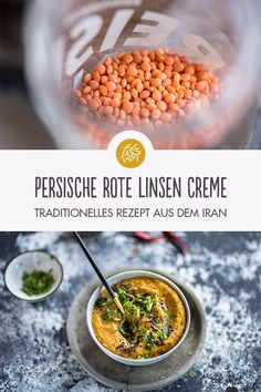 Recipe for Persian Red Lentil Cream- Rezept für Persische Roten Linsen Creme Persian red lentil cream. A traditional, delicious recipe from Iran. Suitable for # food intolerance or # food intolerance such as # lactose intolerance - Vegan Vegetarian, Vegetarian Recipes, Healthy Recipes, Food Intolerance, Detox Recipes, Meals For One, Baby Food Recipes, Clean Eating, Food And Drink