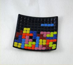 Small fused glass tetris art plate by caroline4art on Etsy