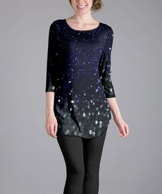 Blue & Black Sparkle Tunic - Plus Too