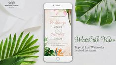 Watercolour style engagement invitation inspired from tropical leaf and flowers with photo and music. Any design wishes; Contact Us. Engagement Invitations, Wedding Invitations, Tropical Leaves, Visual Communication, Plays, Invite, Watercolour, Graphic Design, Inspired