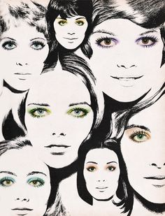 """March 1970. """"Aziza Smoke Rings: Swirl tiny wisps of smoky-soft color ;round about your eyes."""""""