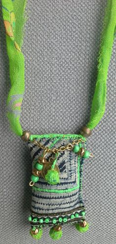 Necklace boho in Thai batik textile. Grey-blue-green by VeronikB| 18 €