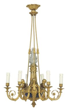 A FRENCH ORMOLU AND BLUE-PAINTED SIX-LIGHT CHANDELIER -  AFTER THE MODEL BY FRANÇOIS RÉMOND, LATE 19TH CENTURY