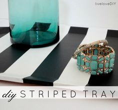 DIY Black & White Striped Tray - made from a thrift store find!
