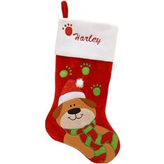 Inch Personalized Dog With Paw Cuff Stocking from Bronner's Christmas store of Christmas ornaments and Christmas lights Pet Stockings, Christmas Stockings, Santa Hat, Dog Life, Cute Puppies, Your Dog, Dog Lovers, Plush, Dogs