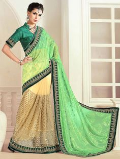Marvelous Cream and Green Saree