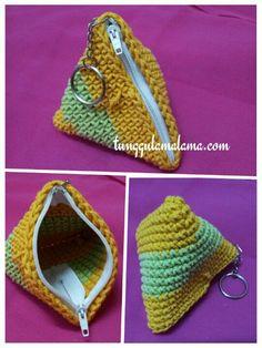 My crochet - coin purse Crochet Clutch Pattern, Crochet Wallet, Crochet Coin Purse, Crochet Purses, Crochet Gifts, Crochet Doilies, Purse Patterns, Knitting Patterns, Crochet Patterns