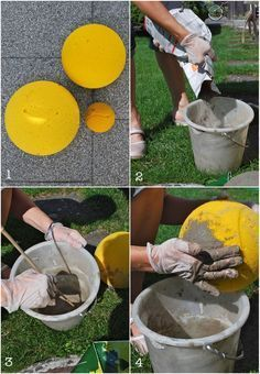 mamas kram: Betonkugeln im neuen Blumenbeet mamas kram: concrete balls in the new flowerbed Diy Concrete Planters, Cement Art, Concrete Crafts, Concrete Projects, Concrete Garden, Modern Planters, Garden Deco, Garden Art, Diy Yard Decor