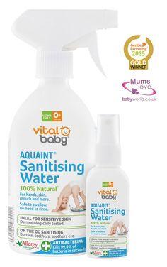 Baby safe sanitising water - £4.99  Buy 500ml and get 50ml free  Vital Baby Aquaint Sanitising Water