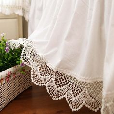 Beautiful White Lace Bed Skirt Dust Ruffle. Custom Made Bed Skirt.                                                                                                                                                      More