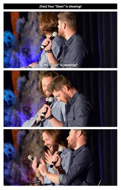 "[GIFSET] Your ""Dean"" is showing ~ SPNfan to Jensen ... AND Jared gets excited…"