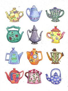 teapots by harryillustration, maybe I should hang a collection like this in my kitchen....can't break and very little dusting