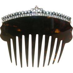 Regal Antique Tortoise Shell Hair Comb With Paste Stones - Crown from puckerings on Ruby Lane